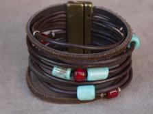 Bracelet Cuir et Verre