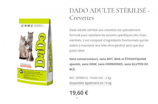 DADO CHATS ADULTES STERILISES